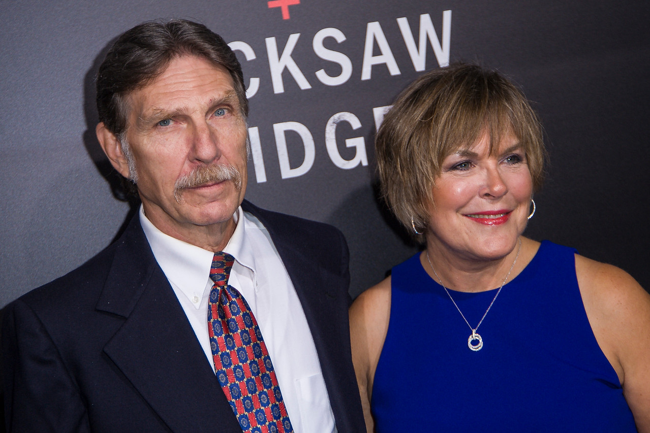 BEVERLY HILLS, CA - OCTOBER 24: Desmond T. Doss Jr. and Elaine Roorda attend the screening of Summit Entertainment's 'Hacksaw Ridge' at the Samuel Goldwyn Theater on Monday October 24, 2016 in Beverly Hills, California. (Photo by Tom Sorensen/Moovieboy Pictures)