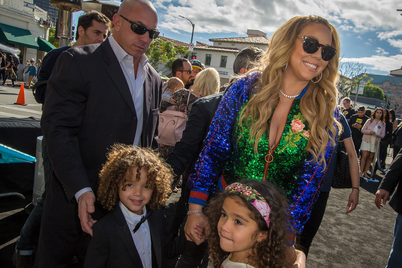 WESTWOOD, CA - FEBRUARY 04: Mariah Carey, son Moroccan Scott Cannon and daughter Monroe Cannon attend the premiere Of Warner Bros. Pictures' 'The LEGO Batman Movie' at Regency Village Theatre on Saturday February 4, 2017 in Westwood, California. (Photo by Tom Sorensen/Moovieboy Pictures)