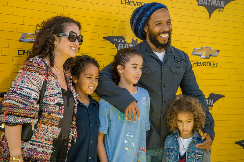 WESTWOOD, CA - FEBRUARY 04: Musician Ziggy Marley, wife Orly Marley and kids attend the premiere Of Warner Bros. Pictures' 'The LEGO Batman Movie' at Regency Village Theatre on Saturday February 4, 2017 in Westwood, California. (Photo by Tom Sorensen/Moovieboy Pictures)