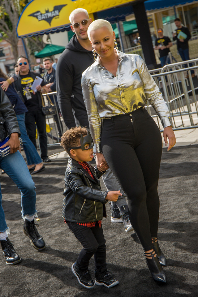 WESTWOOD, CA - FEBRUARY 04: Actress Amber Rose and Sebastian Taylor Thomaz attend the premiere Of Warner Bros. Pictures' 'The LEGO Batman Movie' at Regency Village Theatre on Saturday February 4, 2017 in Westwood, California. (Photo by Tom Sorensen/Moovieboy Pictures)