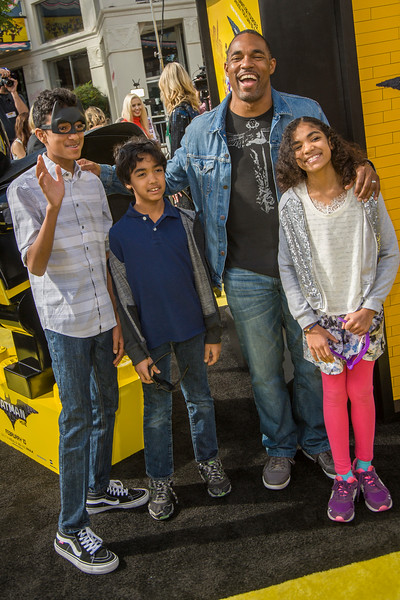 WESTWOOD, CA - FEBRUARY 04: Actor Jason George and children Arun George, Nikhil George, and Jasmine George attend the premiere Of Warner Bros. Pictures' 'The LEGO Batman Movie' at Regency Village Theatre on Saturday February 4, 2017 in Westwood, California. (Photo by Tom Sorensen/Moovieboy Pictures)
