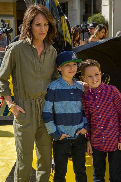 WESTWOOD, CA - FEBRUARY 04: Annabeth Gish with sons Enzo and Cash attend the premiere Of Warner Bros. Pictures' 'The LEGO Batman Movie' at Regency Village Theatre on Saturday February 4, 2017 in Westwood, California. (Photo by Tom Sorensen/Moovieboy Pictures)