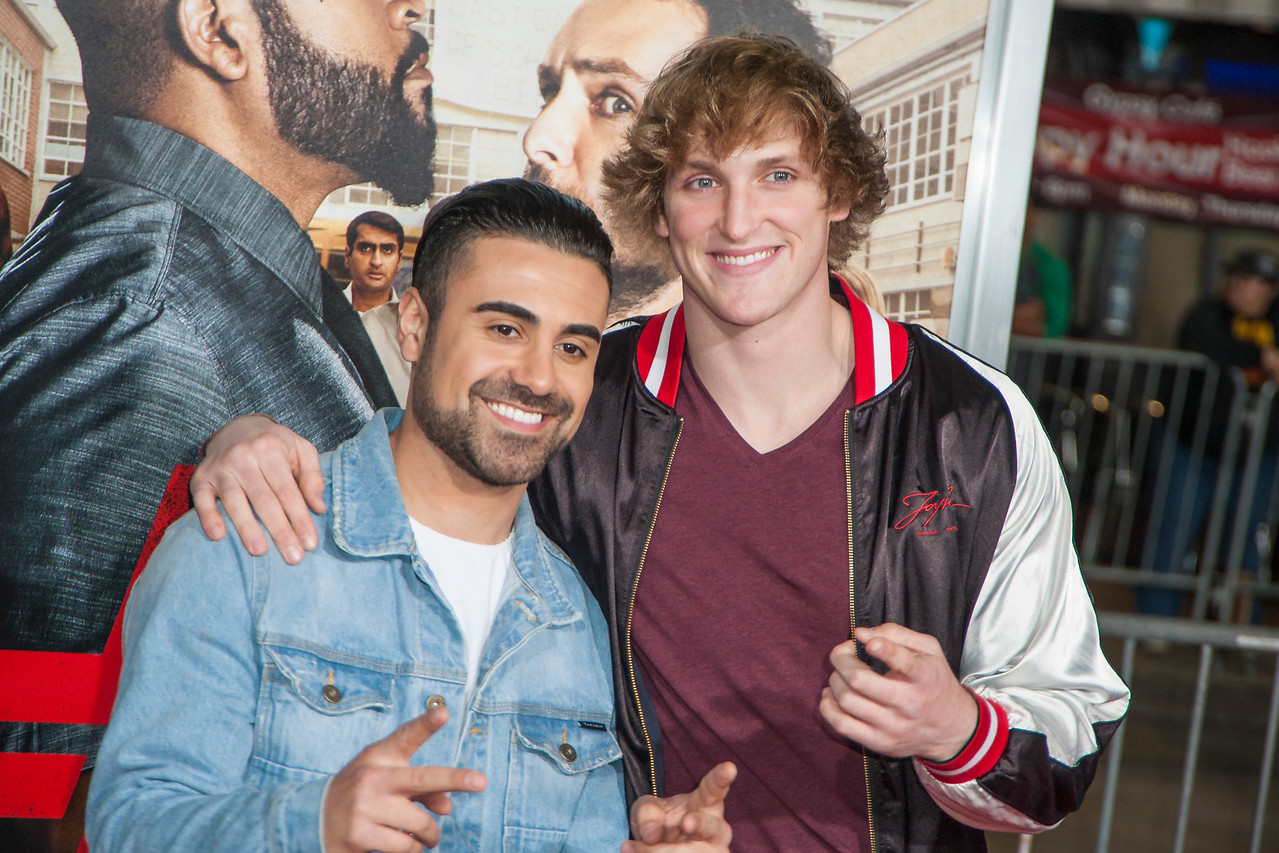 WESTWOOD, CA - FEBRUARY 13: Logan Paul (R) and George Janko attend the premiere of Warner Bros. Pictures' 'Fist Fight' on Monday February 13, 2017 in Westwood, California. (Photo by Tom Sorensen/Moovieboy Pictures)
