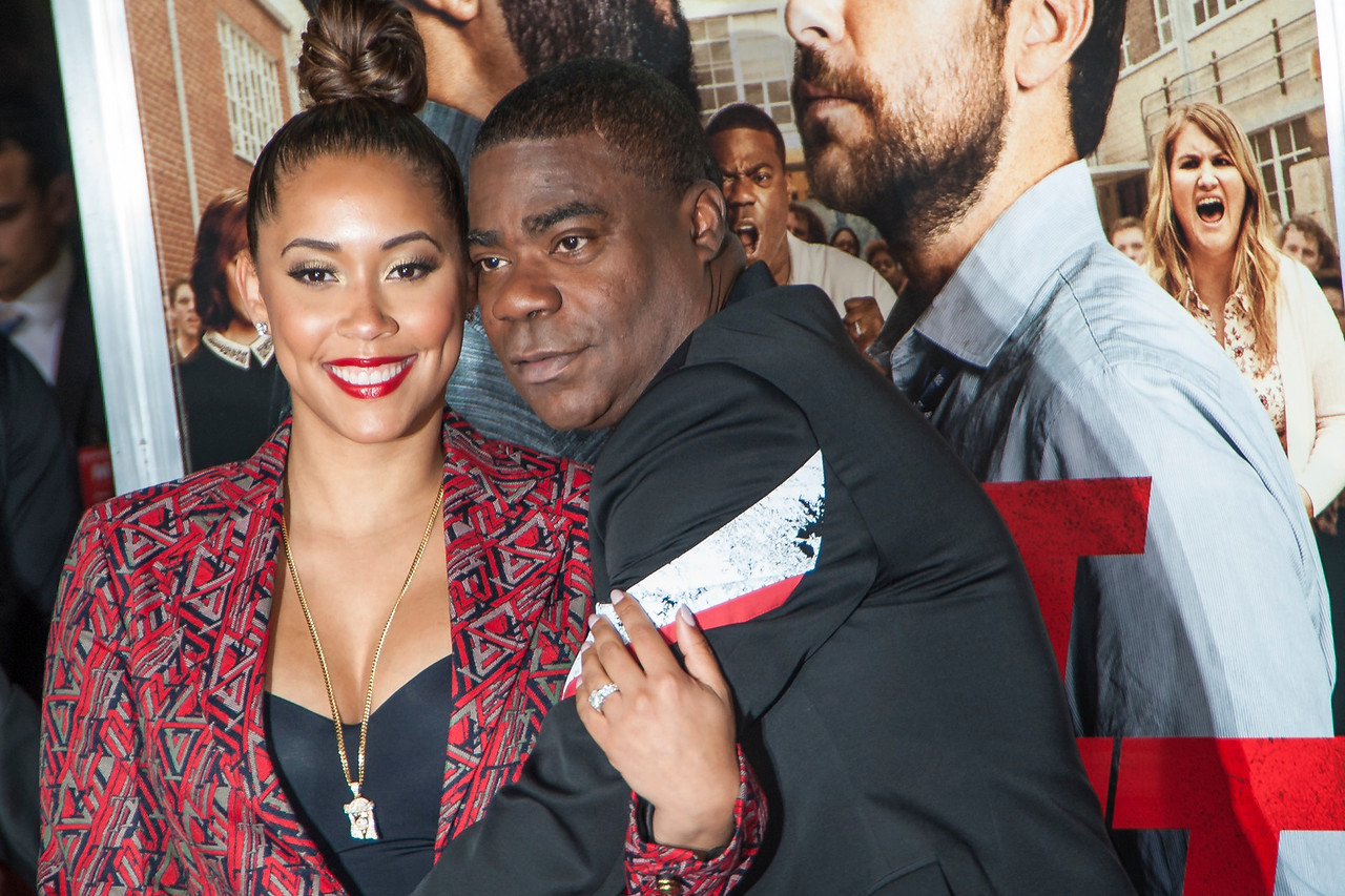 WESTWOOD, CA - FEBRUARY 13: Actor Tracy Morgan (R) and wife Megan Wollover attend the premiere of Warner Bros. Pictures' 'Fist Fight' on Monday February 13, 2017 in Westwood, California. (Photo by Tom Sorensen/Moovieboy Pictures)