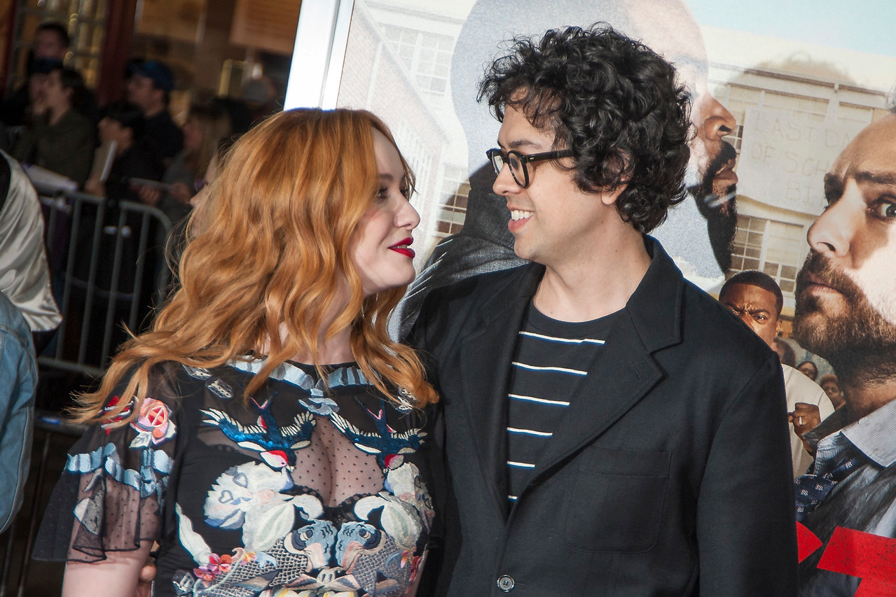 WESTWOOD, CA - FEBRUARY 13: Actress Christina Hendricks and actor Geoffrey Arend attend the premiere of Warner Bros. Pictures' 'Fist Fight' on Monday February 13, 2017 in Westwood, California. (Photo by Tom Sorensen/Moovieboy Pictures)
