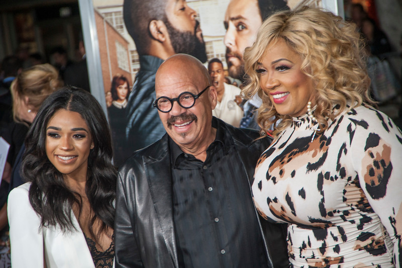 WESTWOOD, CA - FEBRUARY 13: Actress Kym Whitley (R), Tyler Whitley and Tom Joyner attend the premiere of Warner Bros. Pictures' 'Fist Fight' on Monday February 13, 2017 in Westwood, California. (Photo by Tom Sorensen/Moovieboy Pictures)