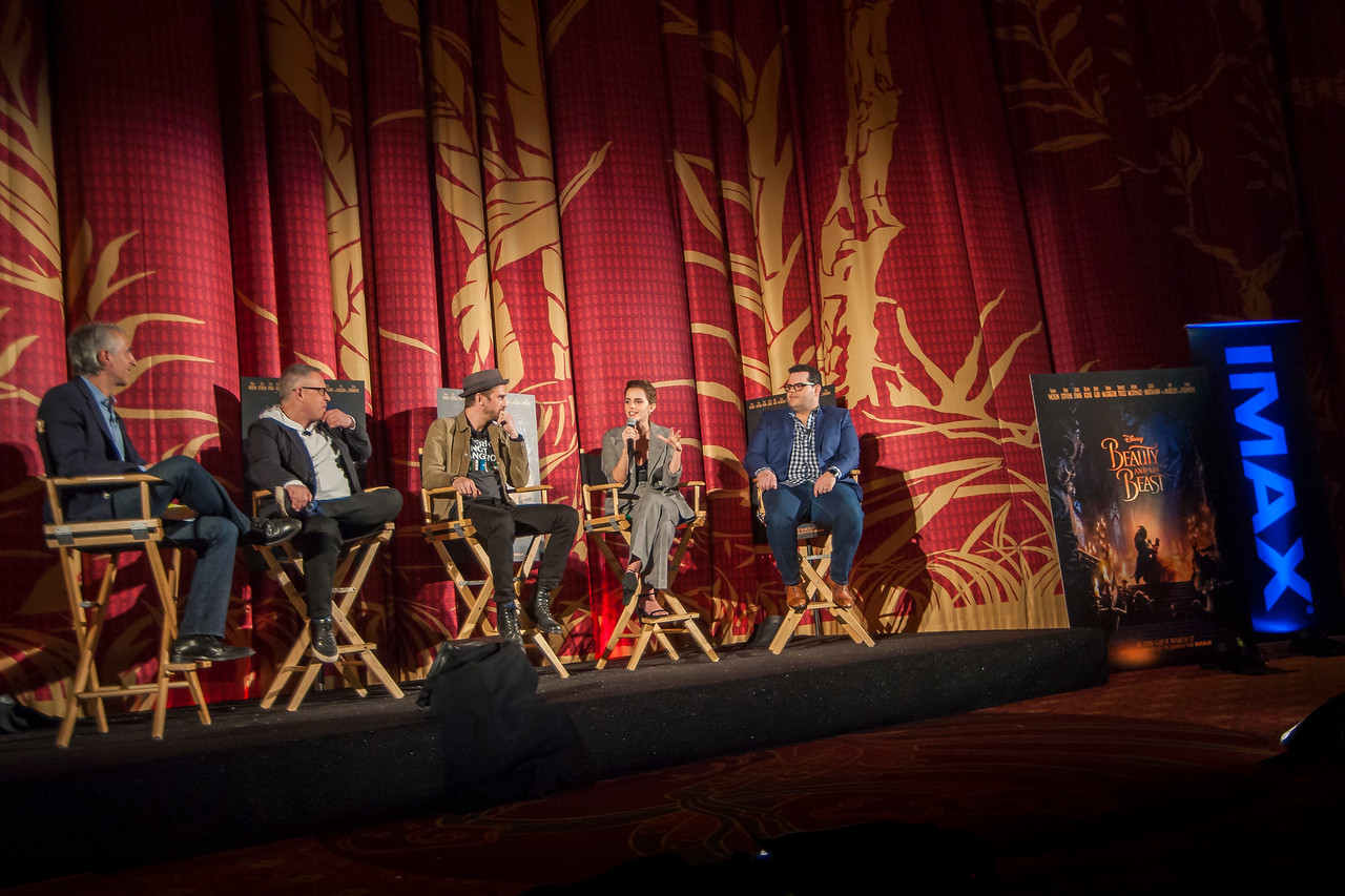 HOLLYWOOD, CA - MARCH 06: Moderated by Scott Mantz, Director Bill Condon, actors Dan Stevens, Emma Watson and Josh Gad attend TCL Chinese's 'Beauty and the Beast' IMAX screening and live stream Q&A on Monday, March 6, 2017 in Hollywood, California. (Photo by Tom Sorensen/Moovieboy Pictures)