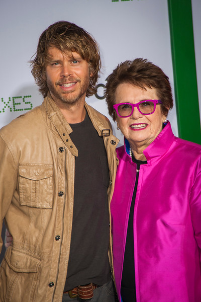 WESTWOOD, CA - SEPTEMBER 16: Actor Eric Christian Olsen and tennis legend Billie Jean King attend the premiere of Fox Searchlight Pictures' 'Battle Of The Sexes' at Regency Village Theatre on Saturday, September 16, 2017 in Westwood, California. (Photo by Tom Sorensen/Moovieboy Pictures)