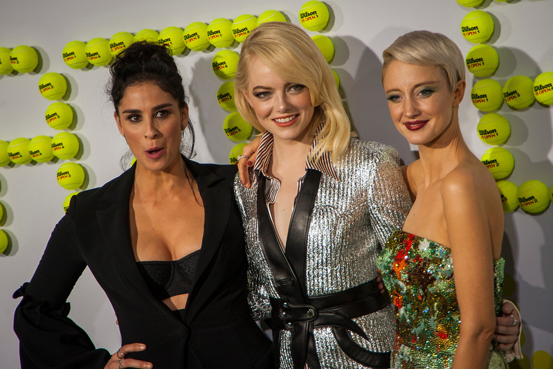 WESTWOOD, CA - SEPTEMBER 16: Actresses Sarah Silverman, Emma Stone and Andrea Riseborough attend the premiere of Fox Searchlight Pictures' 'Battle Of The Sexes' at Regency Village Theatre on Saturday, September 16, 2017 in Westwood, California. (Photo by Tom Sorensen/Moovieboy Pictures)