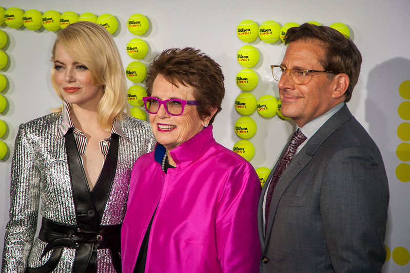 WESTWOOD, CA - SEPTEMBER 16: Actress Emma Stone, tennis legend Billie Jean King and actor Steve Carell attend the premiere of Fox Searchlight Pictures' 'Battle Of The Sexes' at Regency Village Theatre on Saturday, September 16, 2017 in Westwood, California. (Photo by Tom Sorensen/Moovieboy Pictures)