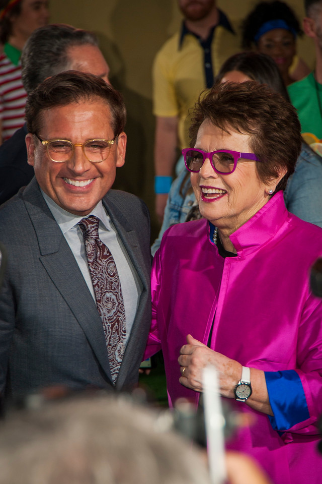 WESTWOOD, CA - SEPTEMBER 16: Actor Steve Carell and tennis legend Billie Jean King attend the premiere of Fox Searchlight Pictures' 'Battle Of The Sexes' at Regency Village Theatre on Saturday, September 16, 2017 in Westwood, California. (Photo by Tom Sorensen/Moovieboy Pictures)