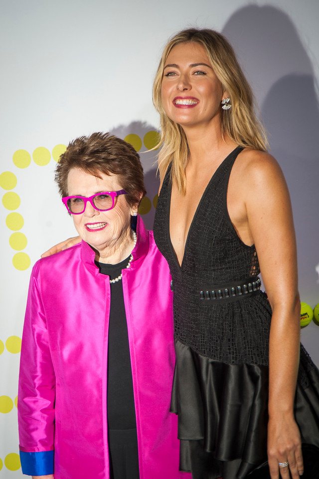 WESTWOOD, CA - SEPTEMBER 16: Billie Jean King (L) and Maria Sharapova attend the premiere of Fox Searchlight Pictures' 'Battle Of The Sexes' at Regency Village Theatre on Saturday, September 16, 2017 in Westwood, California. (Photo by Tom Sorensen/Moovieboy Pictures)