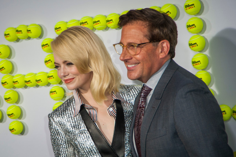 WESTWOOD, CA - SEPTEMBER 16: Actress Emma Stone and actor Steve Carell attend the premiere of Fox Searchlight Pictures' 'Battle Of The Sexes' at Regency Village Theatre on Saturday, September 16, 2017 in Westwood, California. (Photo by Tom Sorensen/Moovieboy Pictures)