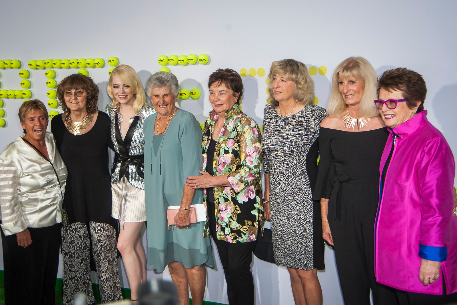 WESTWOOD, CA - SEPTEMBER 16: Rosie Casals, Julie Heldman, Emma Stone, Billie Jean King, Judy Teagart Dalton, Kerry Melville Reid, Kristy Pigeon and Valerie Ziegenfuss attend the premiere of Fox Searchlight Pictures' 'Battle Of The Sexes' at Regency Village Theatre on Saturday, September 16, 2017 in Westwood, California. (Photo by Tom Sorensen/Moovieboy Pictures)