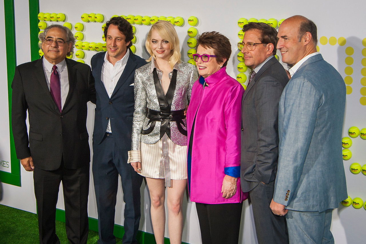 WESTWOOD, CA - SEPTEMBER 16: Stephen Gilula, David Greenbaum, actress Emma Stone, Billie Jean King, actor Steve Carell and Matthew Greenfield the premiere of Fox Searchlight Pictures' 'Battle Of The Sexes' at Regency Village Theatre on Saturday, September 16, 2017 in Westwood, California. (Photo by Tom Sorensen/Moovieboy Pictures)