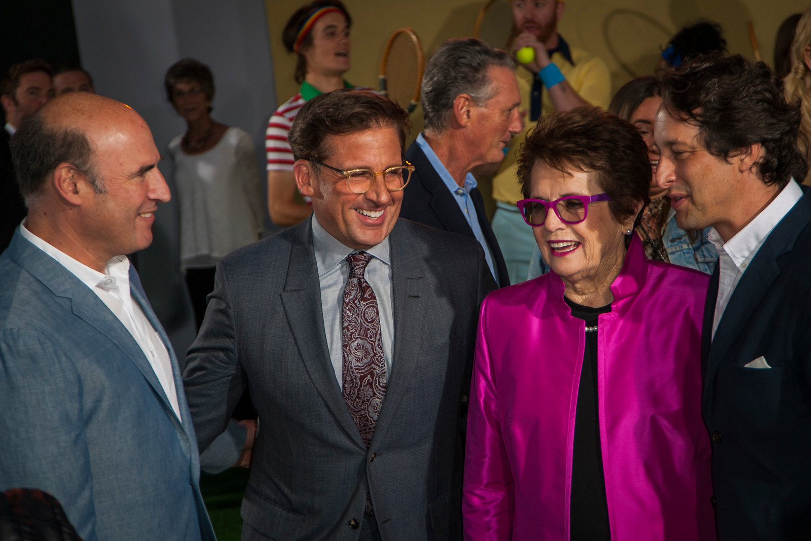 WESTWOOD, CA - SEPTEMBER 16: (L-R) Matthew Greenfield, Steve Carell, Billie Jean King and  David Greenbaum attend the premiere of Fox Searchlight Pictures' 'Battle Of The Sexes' at Regency Village Theatre on Saturday, September 16, 2017 in Westwood, California. (Photo by Tom Sorensen/Moovieboy Pictures)