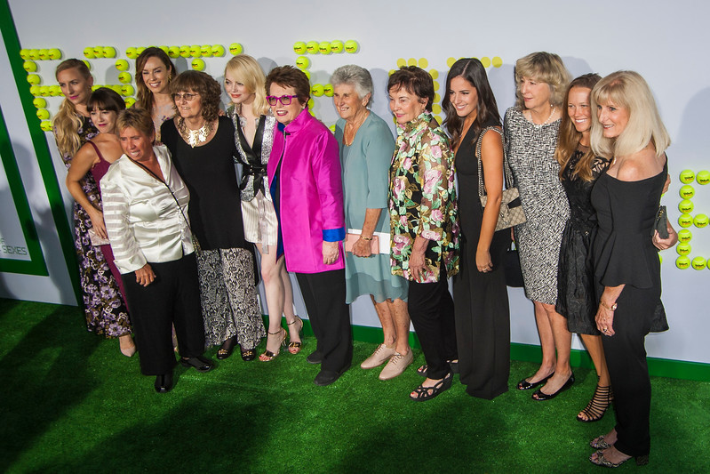 WESTWOOD, CA - SEPTEMBER 16: Seven of The Original Nine tennis players and their on-screen counterparts: (L-R) Michelle Sumner, Martha MacIsaac, Jessica McNamee, Rosie Casals, Julie Heldman, Emma Stone, Billie Jean King, Judy Teagart Dalton, Kerry Melville Reid, Guest, Kristy Pigeon, Guest and Valerie Ziegenfuss attend the premiere of Fox Searchlight Pictures' 'Battle Of The Sexes' at Regency Village Theatre on Saturday, September 16, 2017 in Westwood, California. (Photo by Tom Sorensen/Moovieboy Pictures)
