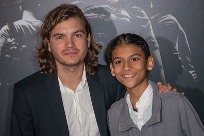 Actor Emile Hirsch (L) and his nephew attend the premiere of Warner Bros. Pictures' 'The 15:17 to Paris' at Warner Bros. Studios on Monday, February 5, 2018 in Burbank, California. (Photo by Tom Sorensen/Moovieboy Pictures)