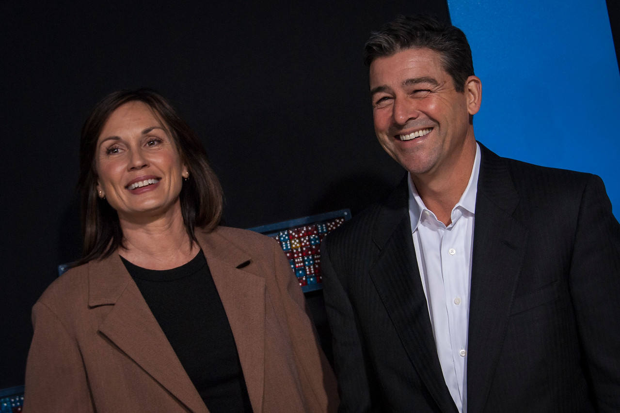 HOLLYWOOD, CA - FEBRUARY 21: Kyle Chandler (R) and Kathryn Chandler attend the premiere of New Line Cinema and Warner Bros. Pictures' 'Game Night' at TCL Chinese Theatre on Wednesday, February 21, 2018 in Hollywood, California. (Photo by Tom Sorensen/Moovieboy Pictures)