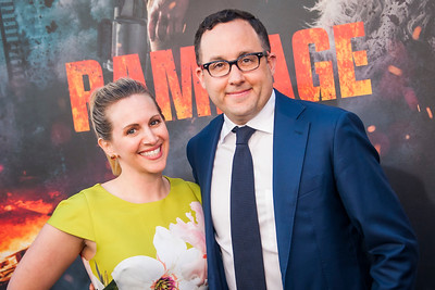 LOS ANGELES, CA - APRIL 04: P. J. Byrne and Jaime Nicole Padula arrive at the Premiere Of Warner Bros. Pictures' 'Rampage' at Microsoft Theater on Wednesday April 4, 2018 in Los Angeles, California. (Photo by Tom Sorensen/Moovieboy Pictures)