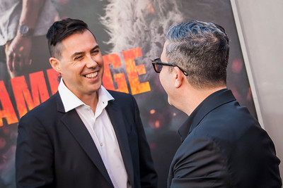 LOS ANGELES, CA - APRIL 04: Brad Peyton and guest arrive at the Premiere Of Warner Bros. Pictures' 'Rampage' at Microsoft Theater on Wednesday April 4, 2018 in Los Angeles, California. (Photo by Tom Sorensen/Moovieboy Pictures)