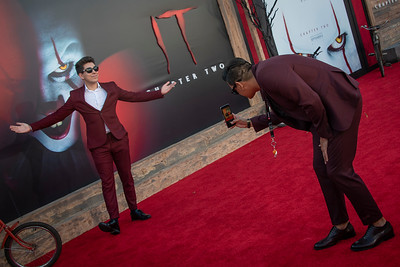 "WESTWOOD, CA - AUGUST 26: Hector Portillo and ""Mox"" attend the Premiere Of Warner Bros. Pictures' ""It Chapter Two"" at Regency Village Theatre on Monday, August 26, 2019 in Westwood, California. (Photo by Tom Sorensen/Moovieboy Pictures)"