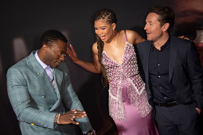 """HOLLYWOOD, CALIFORNIA - FEBRUARY 24: Aldis Hodge, Storm Reid and Leigh Whannell attend the Premiere of Universal Pictures' """"The Invisible Man"""" at TCL Chinese Theatre on Monday, February 24, 2020 in Hollywood, California. (Photo by Tom Sorensen/Moovieboy Pictures)"""