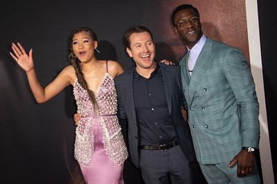 """HOLLYWOOD, CALIFORNIA - FEBRUARY 24: Storm Reid, Leigh Whannell and Aldis Hodge attend the Premiere of Universal Pictures' """"The Invisible Man"""" at TCL Chinese Theatre on Monday, February 24, 2020 in Hollywood, California. (Photo by Tom Sorensen/Moovieboy Pictures)"""