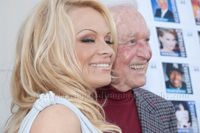 1007w Actress/Animal Rights Activist  Pamela Anderson and Game Show Host and Animal Rights Activist Bob Barker unveil PETA's new Vegetarian Icons Photo Stamp collectors' sheet at the Hollywood Post Office 11/29/2011. The USPS-approved postage stamps feature famous vegetarians dead and living incluidng Leonardo da Vinci, Ellen DeGeneres, Pamela Anderson, Bob Barker and Mohandes Gandhi.