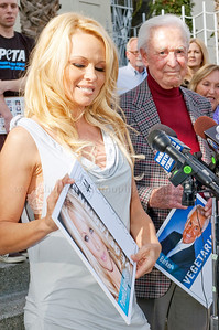 1032w Actress/Animal Rights Activist  Pamela Anderson and Game Show Host and Animal Rights Activist Bob Barker unveil PETA's new Vegetarian Icons Photo Stamp collectors' sheet at the Hollywood Post Office 11/29/2011. The USPS-approved postage stamps feature famous vegetarians dead and living incluidng Leonardo da Vinci, Ellen DeGeneres, Pamela Anderson, Bob Barker and Mohandes Gandhi.