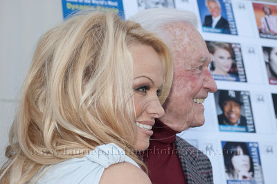 1008w Actress/Animal Rights Activist  Pamela Anderson and Game Show Host and Animal Rights Activist Bob Barker unveil PETA's new Vegetarian Icons Photo Stamp collectors' sheet at the Hollywood Post Office 11/29/2011. The USPS-approved postage stamps feature famous vegetarians dead and living incluidng Leonardo da Vinci, Ellen DeGeneres, Pamela Anderson, Bob Barker and Mohandes Gandhi.