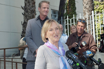 1018w Ingrid Newkirk, Founder of PETA, introduces Actress/Animal Rights Activist  Pamela Anderson and Game Show Host and Animal Rights Activist Bob Barker unveil PETA's new Vegetarian Icons Photo Stamp collectors' sheet at the Hollywood Post Office 11/29/2011. The USPS-approved postage stamps feature famous vegetarians dead and living incluidng Leonardo da Vinci, Ellen DeGeneres, Pamela Anderson, Bob Barker and Mohandes Gandhi. Also pictured is PETA's Dan Matthews.