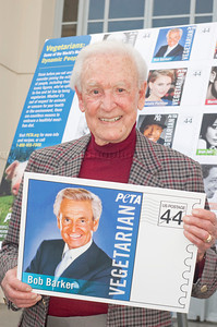1084w  Actress/Animal Rights Activist  Pamela Anderson and Game Show Host and Animal Rights Activist Bob Barker unveil PETA's new Vegetarian Icons Photo Stamp collectors' sheet at the Hollywood Post Office 11/29/2011. The USPS-approved postage stamps feature famous vegetarians dead and living incluidng Leonardo da Vinci, Ellen DeGeneres, Pamela Anderson, Bob Barker and Mohandes Gandhi.