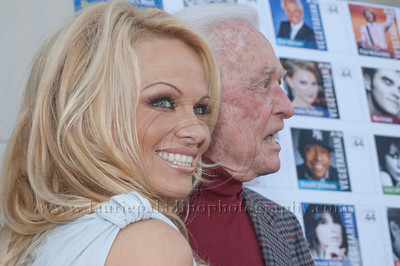 1010w Actress/Animal Rights Activist  Pamela Anderson and Game Show Host and Animal Rights Activist Bob Barker unveil PETA's new Vegetarian Icons Photo Stamp collectors' sheet at the Hollywood Post Office 11/29/2011. The USPS-approved postage stamps feature famous vegetarians dead and living incluidng Leonardo da Vinci, Ellen DeGeneres, Pamela Anderson, Bob Barker and Mohandes Gandhi.