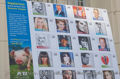 1000w  Actress/Animal Rights Activist  Pamela Anderson and Game Show Host and Animal Rights Activist Bob Barker unveil PETA's new Vegetarian Icons Photo Stamp collectors' sheet at the Hollywood Post Office 11/29/2011. The USPS-approved postage stamps feature famous vegetarians dead and living incluidng Leonardo da Vinci, Ellen DeGeneres, Pamela Anderson, Bob Barker and Mohandes Gandhi. Pictured are the PhotoStamps Collectors Postage Stamps.