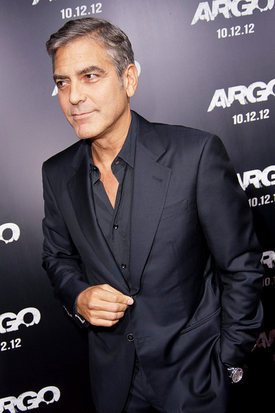 """BEVERLY HILLS, CA - OCTOBER 04: Actor George Clooney arrives at the premiere of Warner Bros. Pictures' """"Argo"""" at AMPAS Samuel Goldwyn Theater onThursday, October 4, 2012 in Beverly Hills, California. (Photo by Tom Sorensen/Moovieboy Pictures)"""