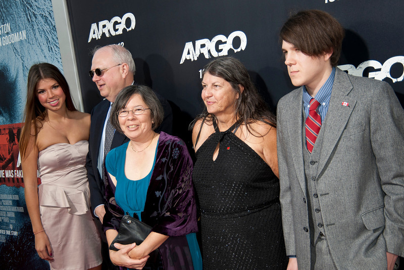 """BEVERLY HILLS, CA - OCTOBER 04: Real hostages Mark Lijek, Cora Lijek (C) and family arrive at the premiere of Warner Bros. Pictures' """"Argo"""" at AMPAS Samuel Goldwyn Theater onThursday, October 4, 2012 in Beverly Hills, California. (Photo by Tom Sorensen/Moovieboy Pictures)"""