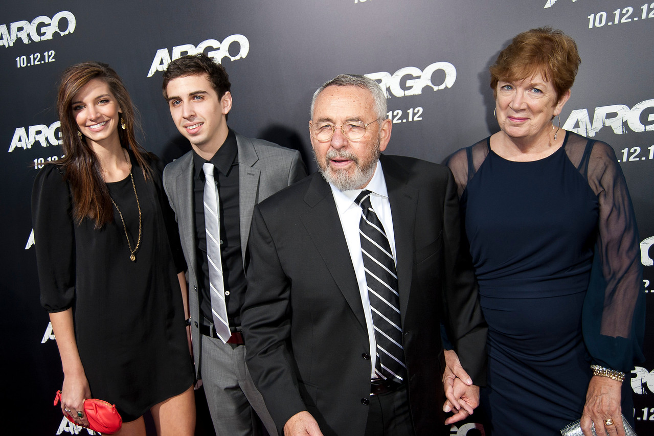 """BEVERLY HILLS, CA - OCTOBER 04: Author Tony Mendez and family arrive at the premiere of Warner Bros. Pictures' """"Argo"""" at AMPAS Samuel Goldwyn Theater onThursday, October 4, 2012 in Beverly Hills, California. (Photo by Tom Sorensen/Moovieboy Pictures)"""
