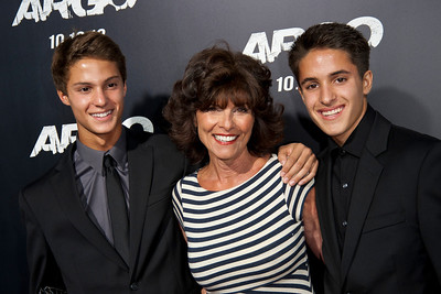 "BEVERLY HILLS, CA - OCTOBER 04: Actress Adrienne Barbeau and sons arrive at the premiere of Warner Bros. Pictures' ""Argo"" at AMPAS Samuel Goldwyn Theater onThursday, October 4, 2012 in Beverly Hills, California. (Photo by Tom Sorensen/Moovieboy Pictures)"