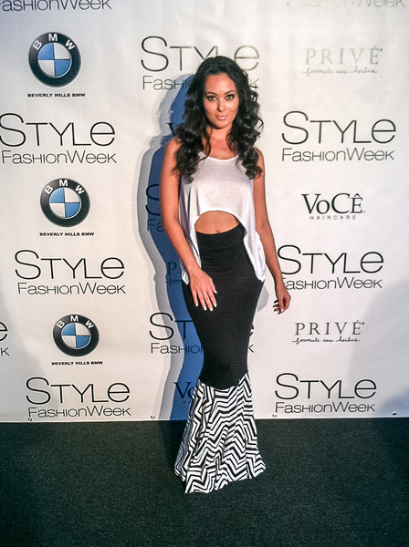 Ashley Doris wearing Beautiful Addiction at the L.A. Fashion Week