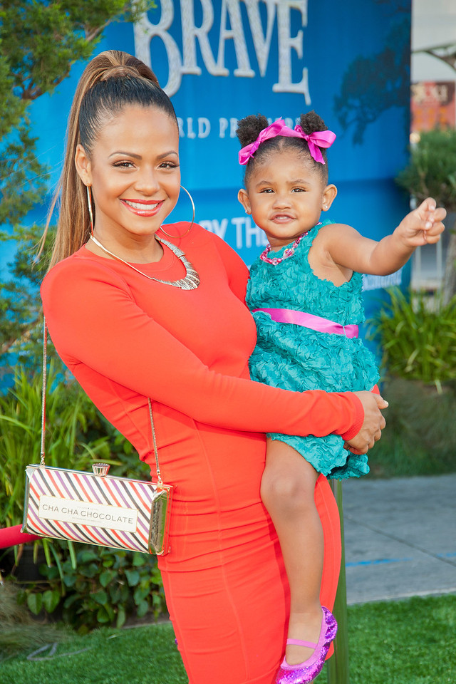 HOLLYWOOD, CA - JUNE 18: Actress Christina Milian (L) and daughter Violet Nash arrive at Disney Pixar's 'Brave' World Premiere at Dolby Theatre on June 18, 2012 in Hollywood, California. (Photo by Tom Sorensen/Moovieboy Pictures)