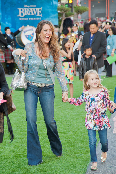 HOLLYWOOD, CA - JUNE 18: Actress Joely Fisher with her kids arrive at Disney Pixar's 'Brave' World Premiere at Dolby Theatre on June 18, 2012 in Hollywood, California. (Photo by Tom Sorensen/Moovieboy Pictures)