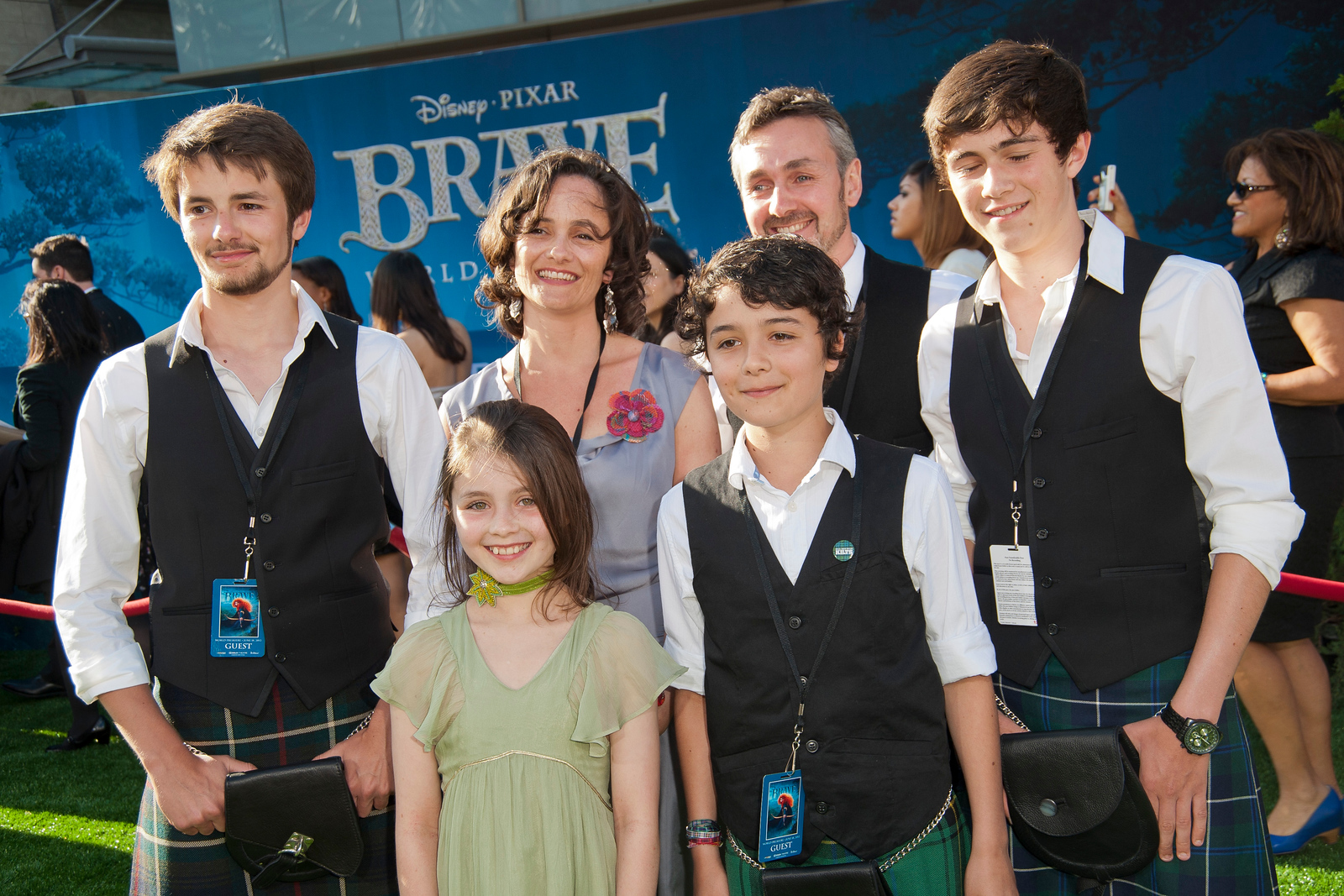 HOLLYWOOD, CA - JUNE 18: Actress Peigi Barker (front c) and family arrive at Disney Pixar's 'Brave' World Premiere at Dolby Theatre on June 18, 2012 in Hollywood, California. (Photo by Tom Sorensen/Moovieboy Pictures)