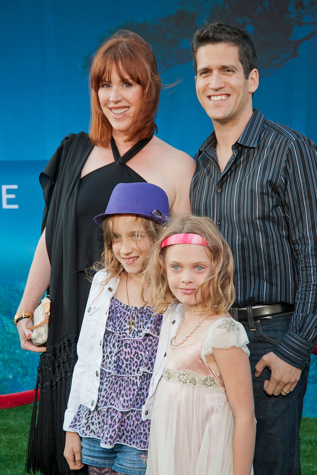HOLLYWOOD, CA - JUNE 18: Actress Molly Ringwald (L) husband Panio Gianopoulos and family arrive at Disney Pixar's 'Brave' World Premiere at Dolby Theatre on June 18, 2012 in Hollywood, California. (Photo by Tom Sorensen/Moovieboy Pictures)