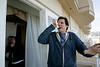 """Comedian, Jim Carrey, jokes around with a paper airplane, after he tried to fly it off the balcony at a press junket for the movie, """"Horton hears a Who.""""  It is a movie-adaptation of the cartoon classic.  He is at the Four seasons Hotel in Beverly Hills."""