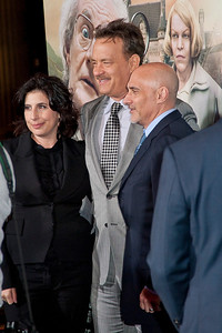 HOLLYWOOD, CA - OCTOBER 24: (L-R) Warner Bros. Pictures President of Worldwide Marketing Sue Kroll, actor Tom Hanks and Warner Bros. Pictures Group President Jeff Robinov arrive at the 'Cloud Atlas' - Los Angeles Premiere at Grauman's Chinese Theatre on Wednesday October 24, 2012 in Hollywood, California. (Photo by Tom Sorensen/Moovieboy Pictures)