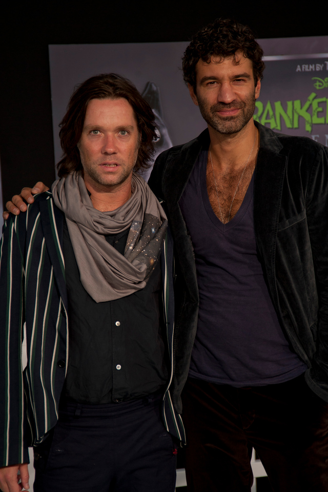 HOLLYWOOD, CA: Singer Rufus Wainwright (L) and Jorn Weisbrodt arrive at the Premiere Of Disney's 'Frankenweenie' at the El Capitan Theatre on Monday, September 24, 2012 in Hollywood, California. (Photo by Tom Sorensen/Moovieboy Pictures)