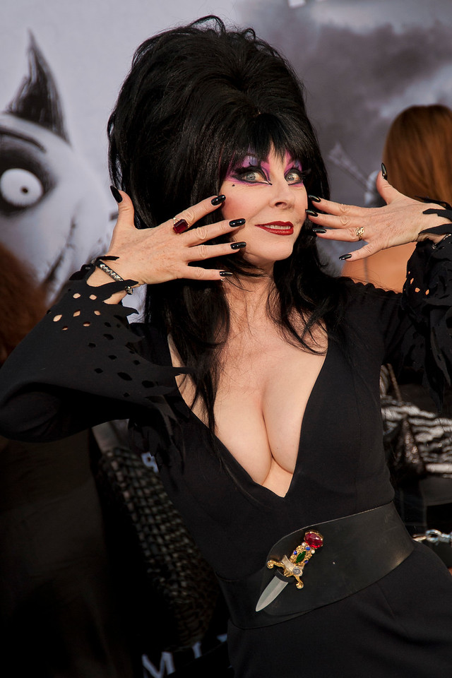 "HOLLYWOOD, CA: Actress Cassandra Peterson ""Elvira, Mistress of the Dark"" attends the Premiere Of Disney's 'Frankenweenie' at the El Capitan Theatre on Monday, September 24, 2012 in Hollywood, California. (Photo by Tom Sorensen/Moovieboy Pictures)"