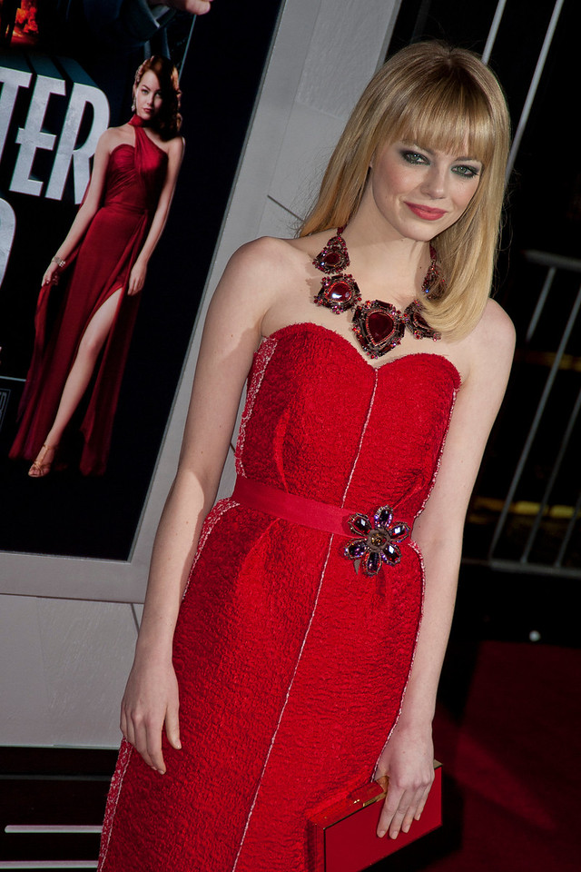 HOLLYWOOD, CA - JANUARY 07: Actress Emma Stone arrives at Warner Bros. Pictures' 'Gangster Squad' premiere at Grauman's Chinese Theatre on Monday, January 7, 2013 in Hollywood, California. (Photo by Tom Sorensen/Moovieboy Pictures)