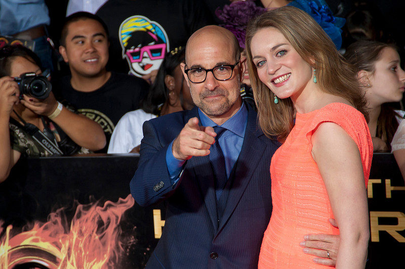 LOS ANGELES, CA - MARCH 12: Actor Stanley Tucci and Felicity Blunt arrive at the premiere of Lionsgate's 'The Hunger Games' at Nokia Theatre L.A. Live on Monday, March 12, 2012 in Los Angeles, California. Photo taken by Tom Sorensen/Moovieboy Pictures.